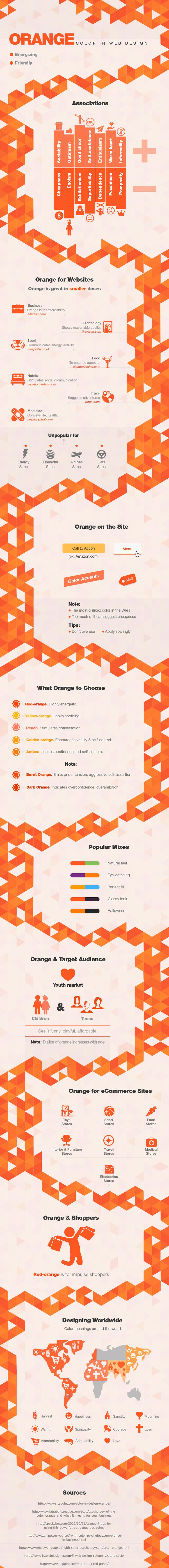 Orange in web design
